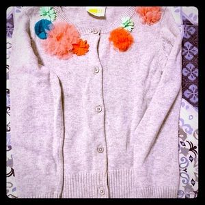 Crazy 8 flower accent girl cardigan